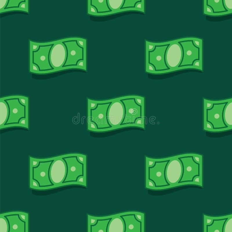 样式在绿色背景的金钱钞票 无缝的样式私房钱票据 背景私房钱 皇族释放例证