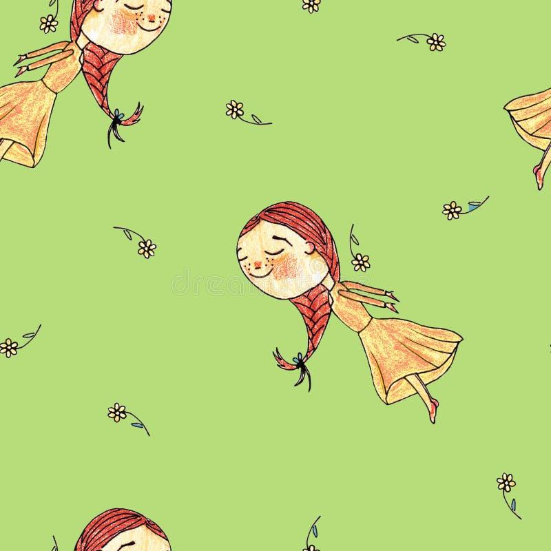 样式女孩公主儿童纺织品 向量例证