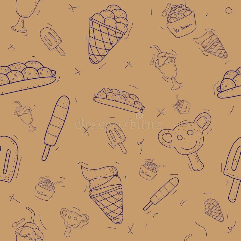 样式无缝的套冰淇凌 乱画设计样式 r 皇族释放例证