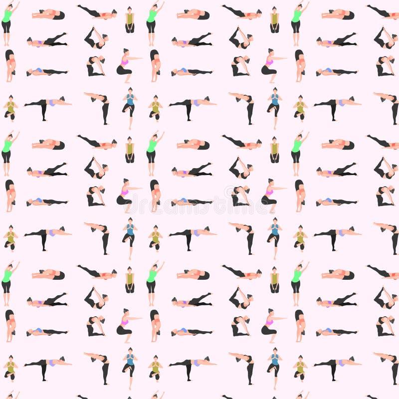 样式无缝的套瑜伽 姿势健身女孩健身房能量 r 库存例证