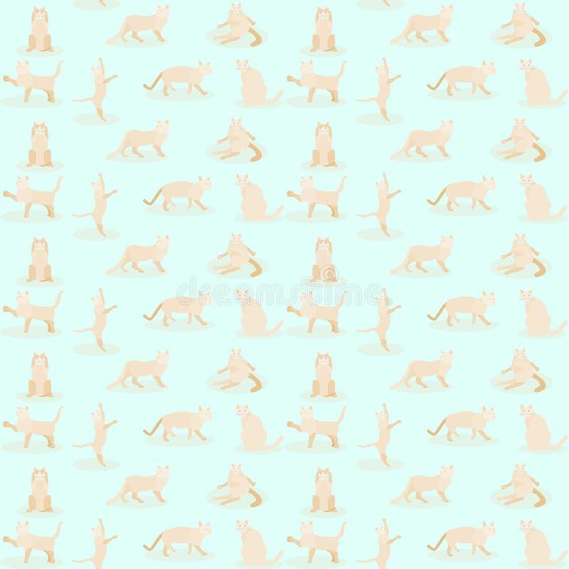 样式无缝的套逗人喜爱的猫元素 r 向量例证