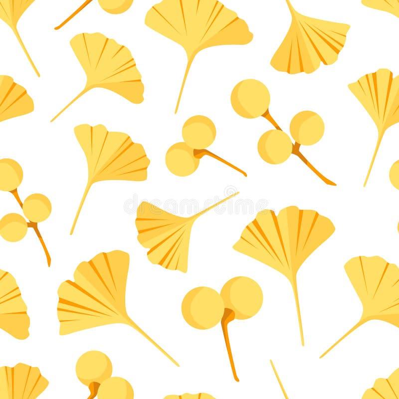 样式无缝的银杏树biloba叶子和莓果 在平的样式设置的传染媒介 库存例证