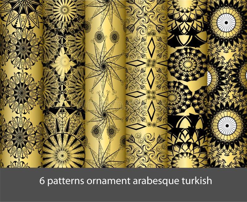 6样式汇集蔓藤花纹土耳其语 库存例证