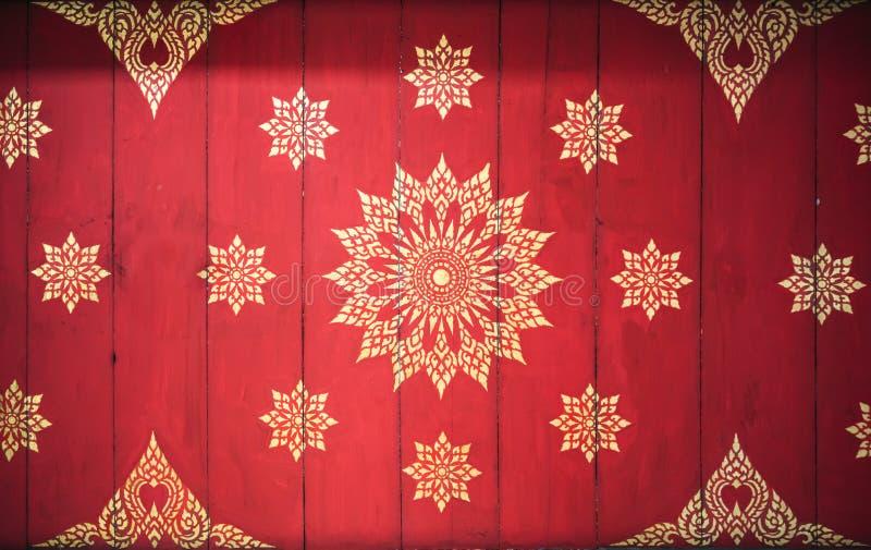 样式泰国样式艺术在墙壁上的在寺庙,泰国 tex 免版税库存图片