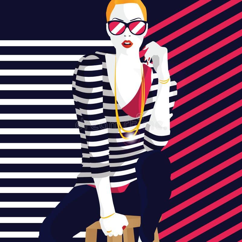 样式流行艺术的时尚妇女 时髦的例证 皇族释放例证