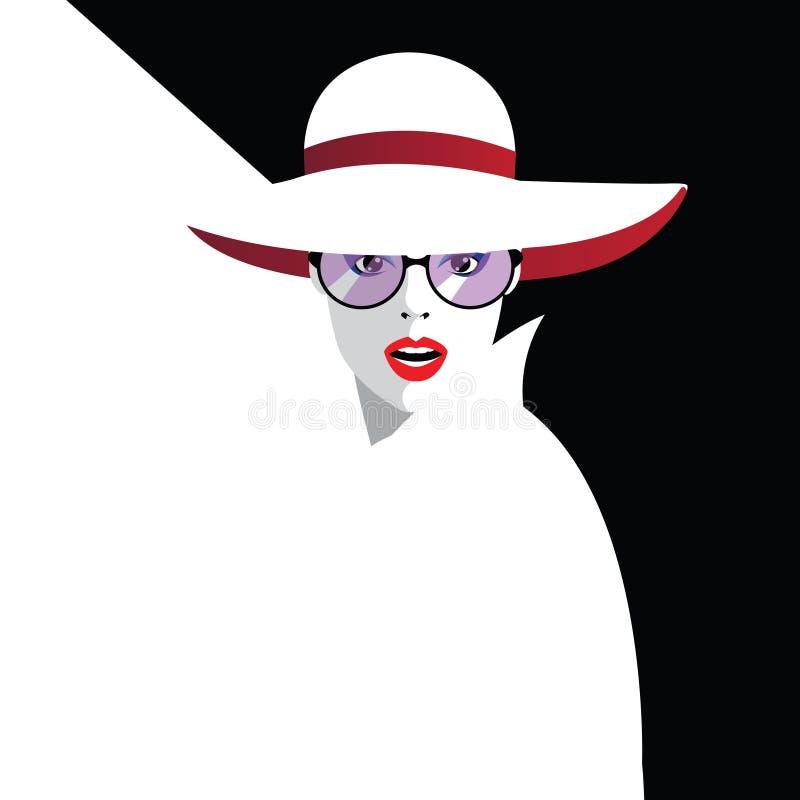 样式流行艺术的时尚妇女 向量例证