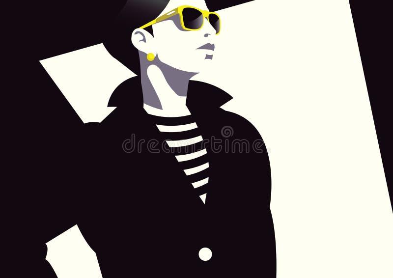 样式流行艺术的时尚妇女 库存例证