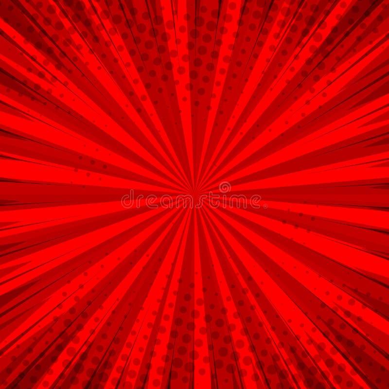 样式流行艺术设计的抽象可笑的红色背景 减速火箭的爆炸模板背景 光线作用 向量例证