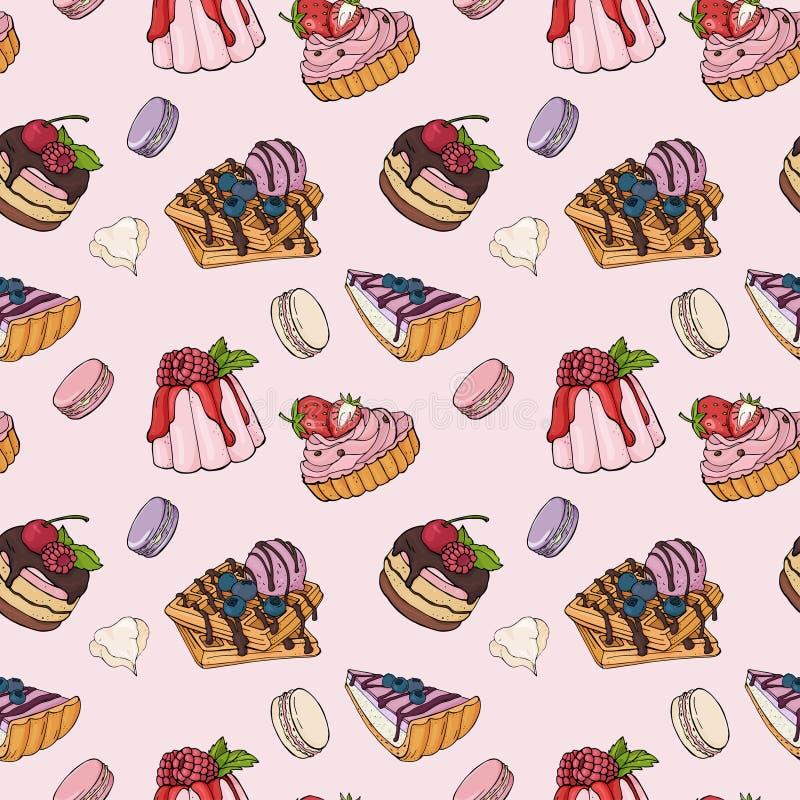 样式用可口点心 时髦,五颜六色的在桃红色背景的甜点用莓果和结霜 库存例证