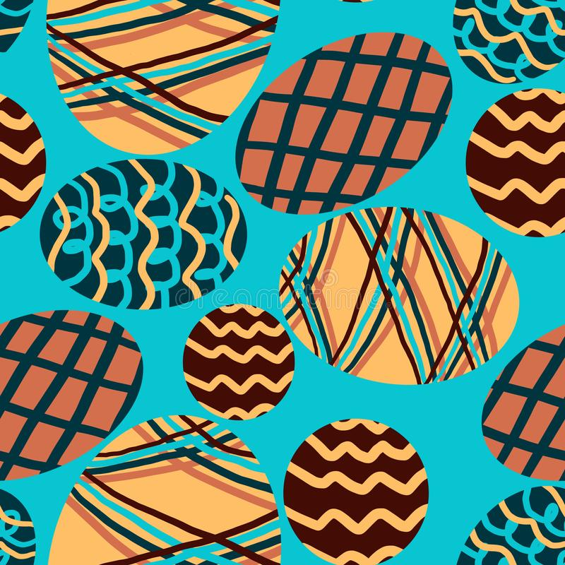 样式用在蓝色背景的色的鸡蛋 向量例证