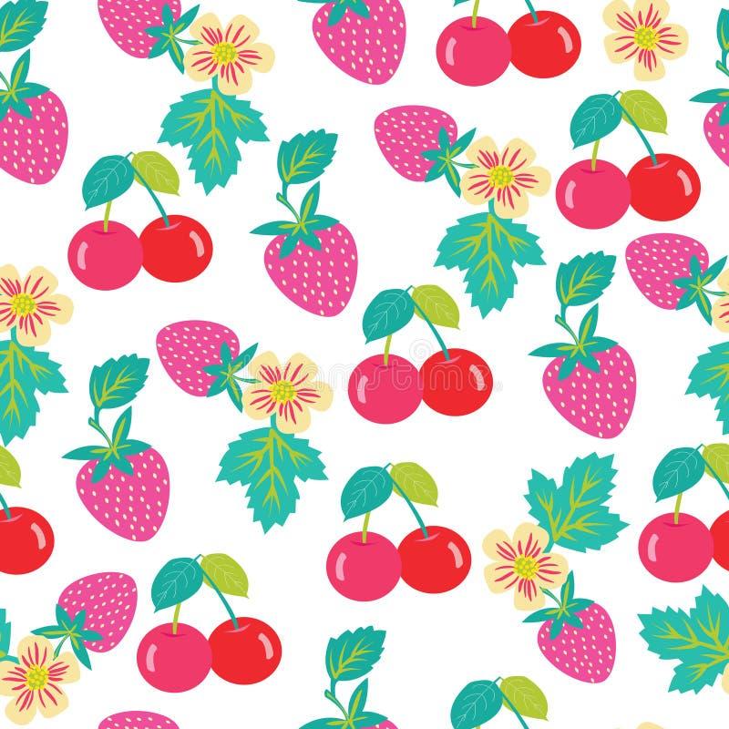 样式用草莓和樱桃 向量例证