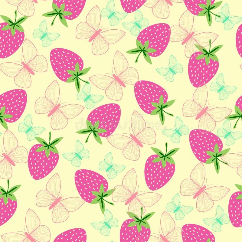 样式用草莓和蝴蝶 皇族释放例证