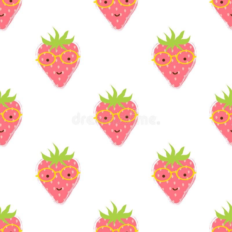 样式用逗人喜爱的草莓 库存例证