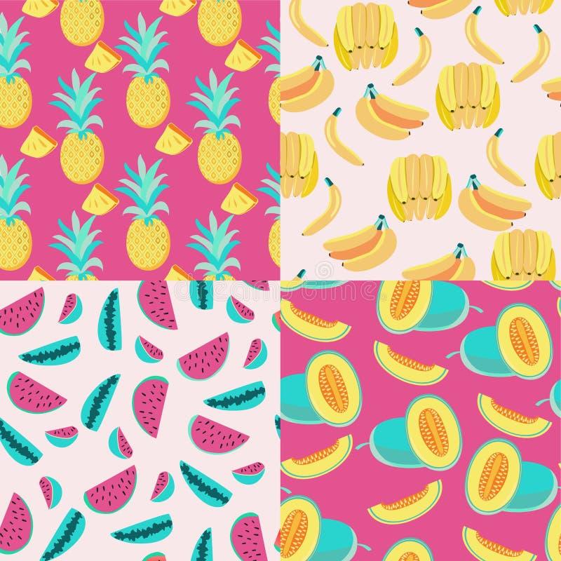 样式用黄色香蕉、菠萝和水多的瓜和西瓜 库存例证