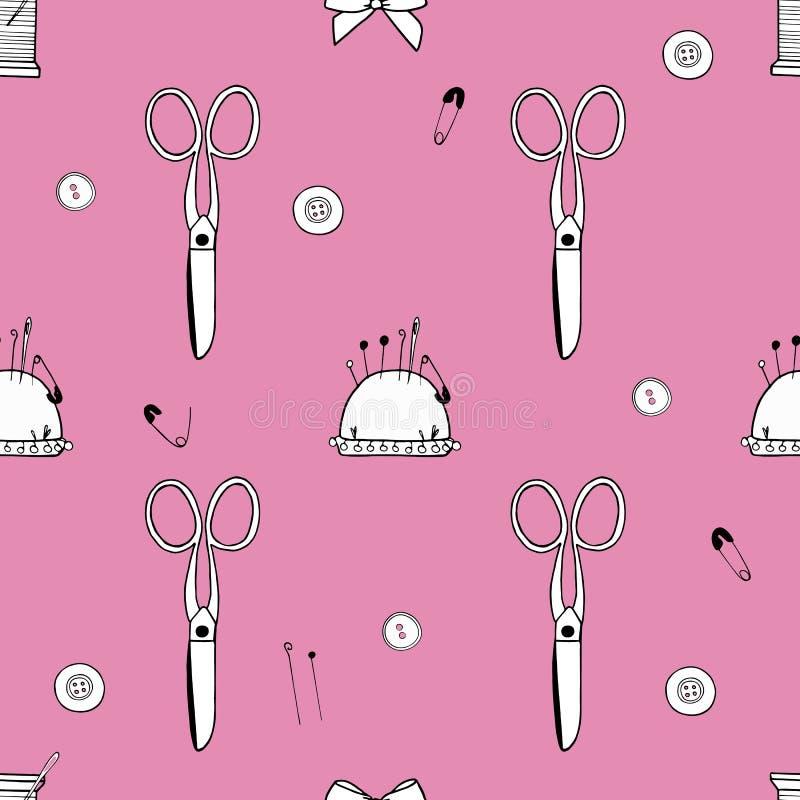 样式由剪刀、针、别针、螺纹、mouline和针垫制成 库存例证