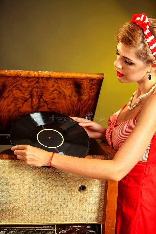 样式的女孩保留唱片 免版税库存照片