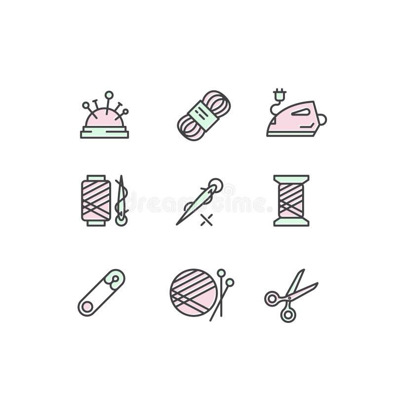 样式缝合,裁缝商店工具的例证概念 向量例证
