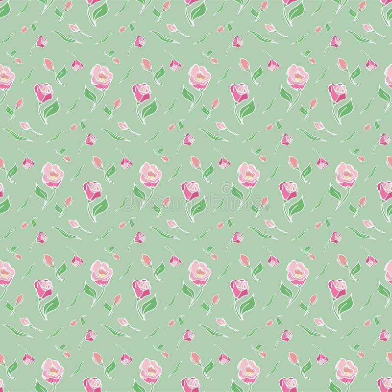 样式花桃红色上升了绿色背景春天 免版税库存照片
