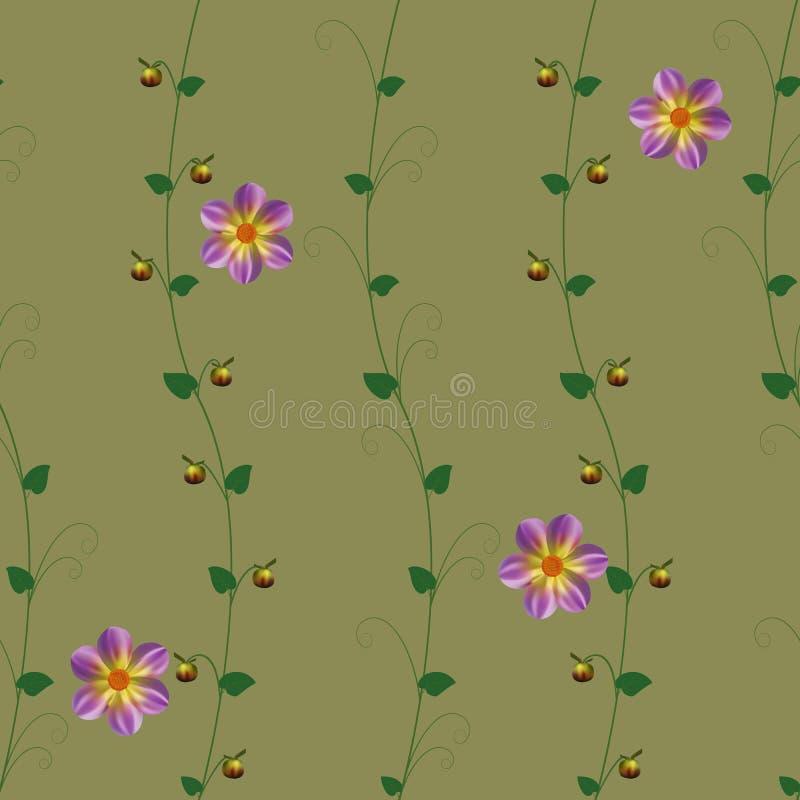 样式花紫色留下绿色植物群藤本植物墙纸 皇族释放例证