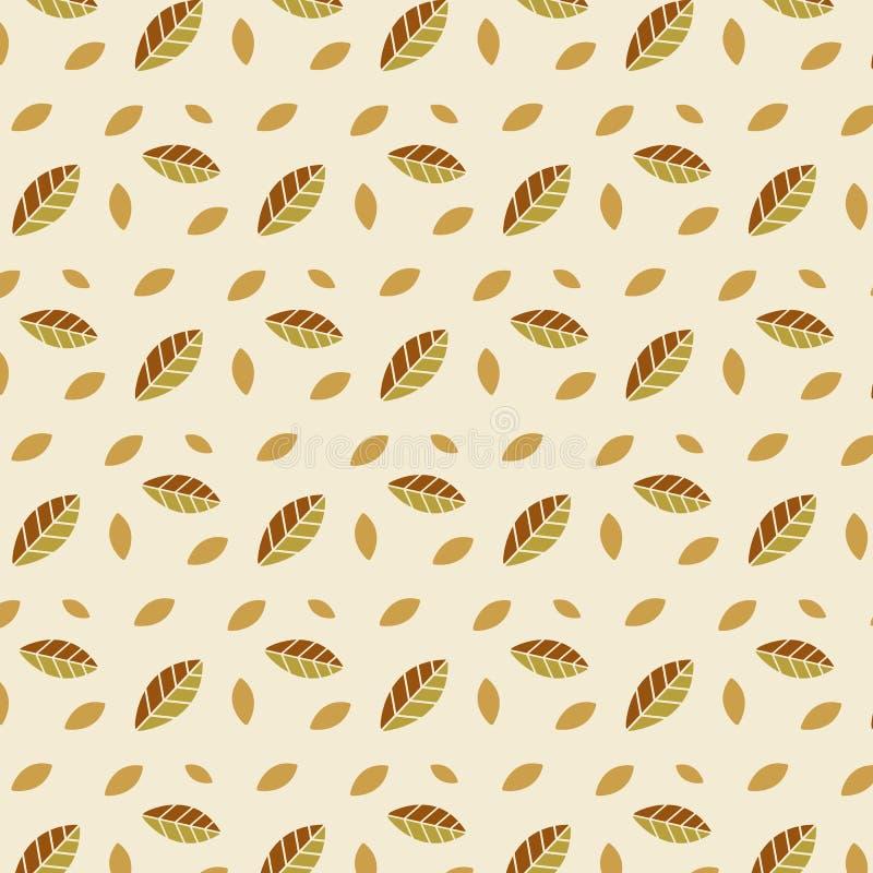 样式装饰品季节叶子秋叶淡桔色的秋天重复时兴为纺织品在黄色背景穿衣 向量例证