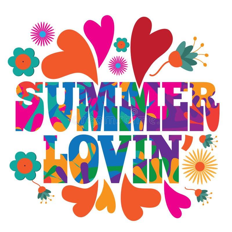 60样式mod流行艺术荧光的五颜六色的夏天Lovin文本设计 皇族释放例证