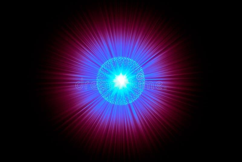 核原子的中坚力量爆炸光芒辐射科学例证 皇族释放例证