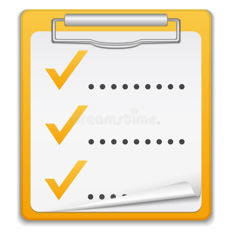 核对清单剪贴板 库存例证