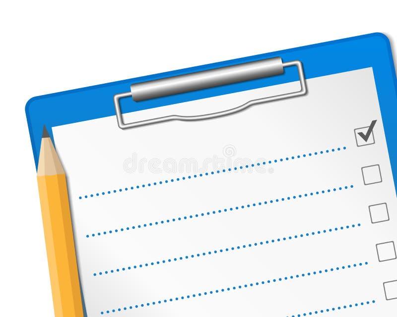 核对清单 库存例证