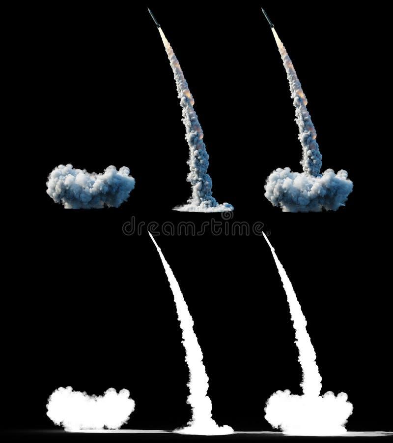 核弹道火箭,复杂 发射火箭,尘土孤立 3d翻译 向量例证