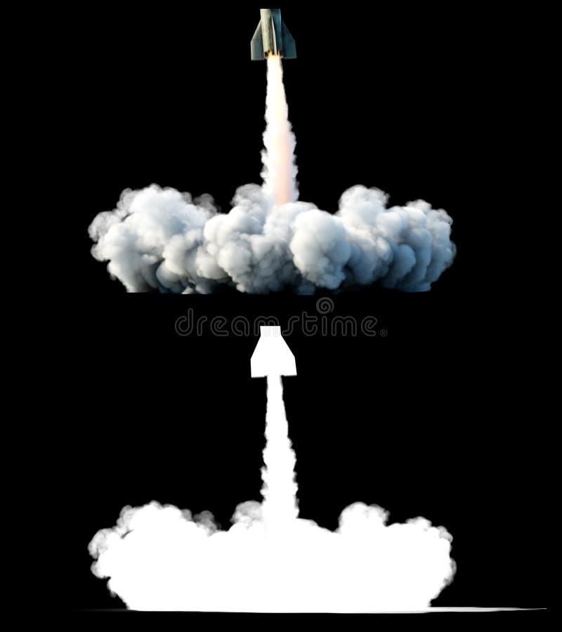 核弹道火箭,复杂 发射火箭,尘土孤立 3d翻译 库存例证