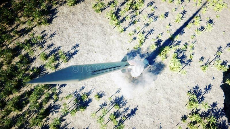 核弹道火箭,复杂 发射火箭,尘土3d翻译 向量例证