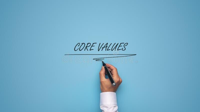 核心价值签署蓝色背景 免版税库存照片