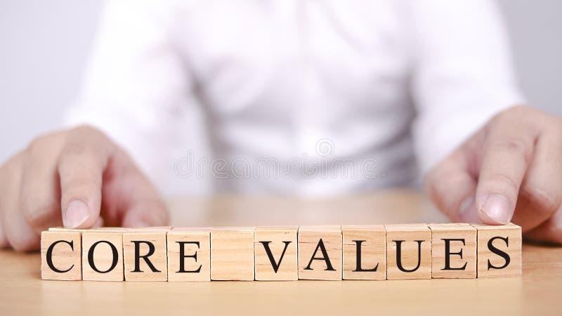 核心价值,商业道德诱导激动人心的行情 库存照片