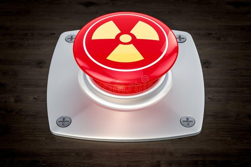 核按钮,在木桌上的辐射按钮, 3D r 皇族释放例证