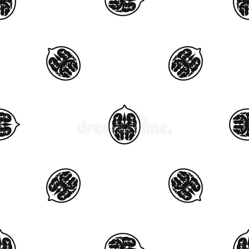 核桃样式无缝的黑色 库存例证