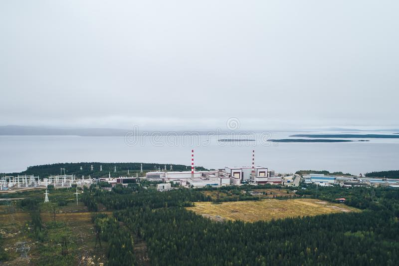 核电站装备一个原子反应堆 免版税库存照片