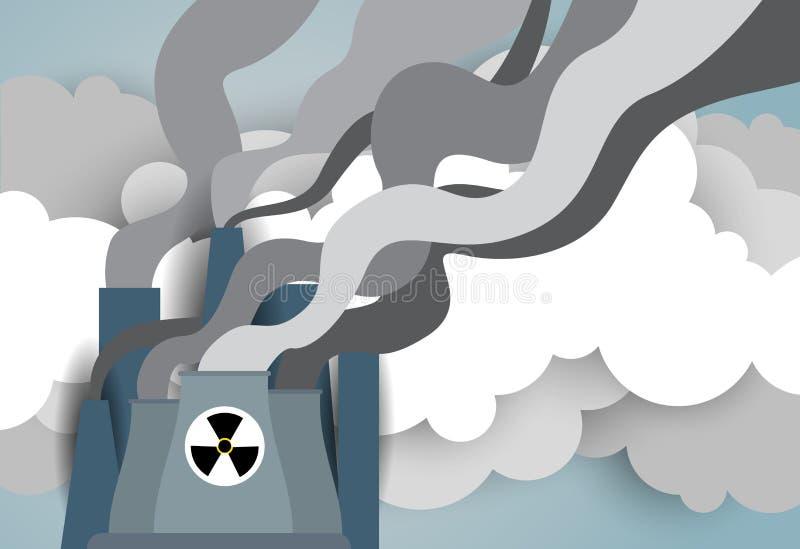 核能厂或工厂有在白色背景和管子的隔绝的抽烟的拖曳 向量例证