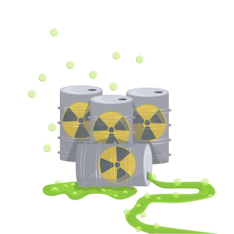 核能桶自然在白色背景舱内甲板隔绝的大气污染 库存例证
