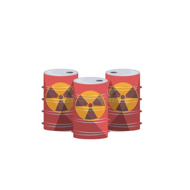 核能桶自然在白色背景舱内甲板隔绝的大气污染 向量例证