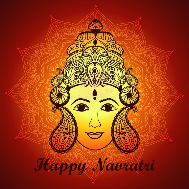 根据与Maa杜尔加的美丽的面孔的创造性的花卉框架线艺术装饰背景的印度节日的 库存例证