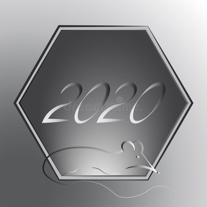 根据中国东亚日历的占星术黄道带标志金属鼠 新年的标志的布局2020年, 免版税库存图片