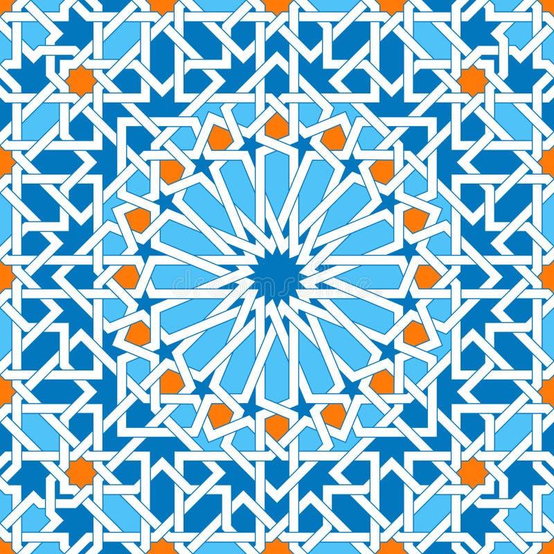 根据传统阿拉伯艺术的伊斯兰教的几何装饰品 东方无缝的模式 回教马赛克 清真寺装饰 库存例证
