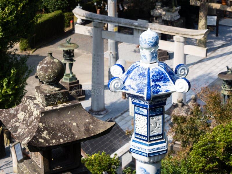 根据历史的Tozan寺庙著名为它的陶瓷艺术 图库摄影