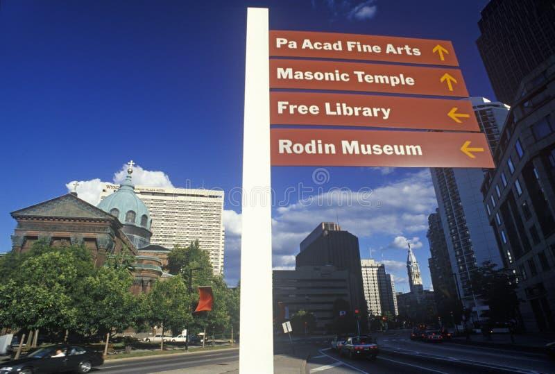 根据圣皮特圣徒・彼得和保罗大教堂,费城, PA的定向标志 库存图片