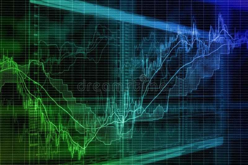 根据在屏幕上的股市图表的被弄脏的背景 库存图片