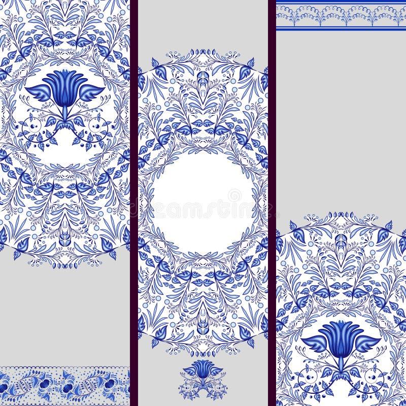 根据在瓷的种族绘画或背景的套横幅 蓝色花卉模式 库存例证