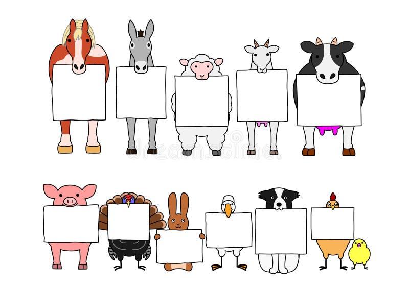 根据白色卡片的牲口 向量例证