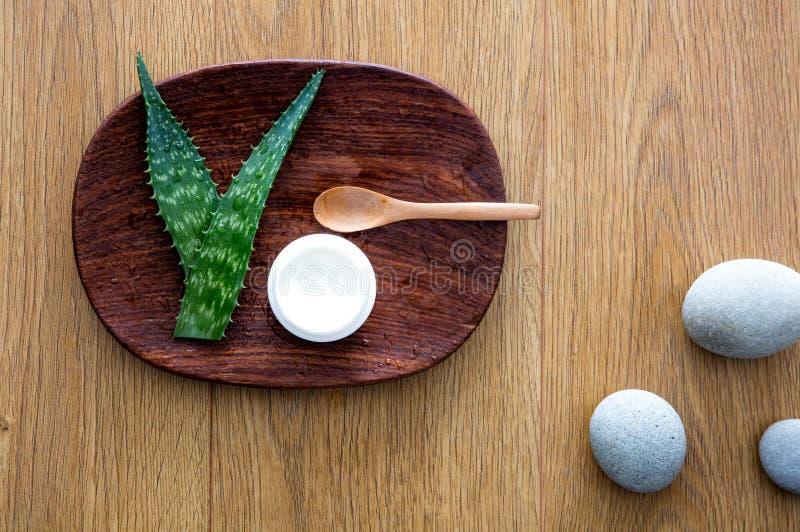 根据芦荟维拉绿色秀丽的健康面孔skincare疗法 图库摄影