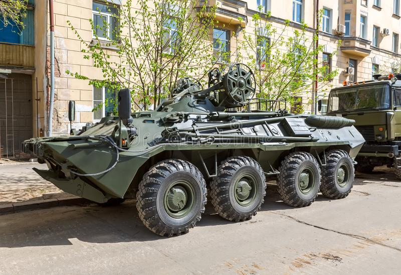 根据BTR-80 ARV-K的被转动的装甲的修理车 免版税库存图片