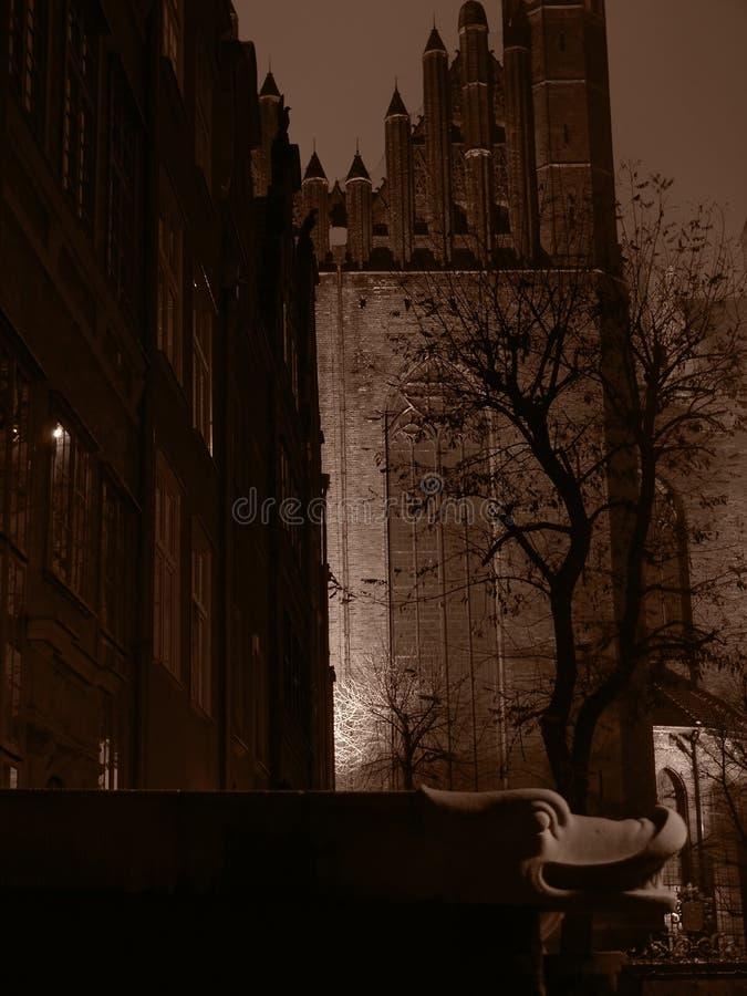 格但斯克市在晚上 图库摄影